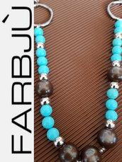 Collana colore argento con turchesi e perle marroni