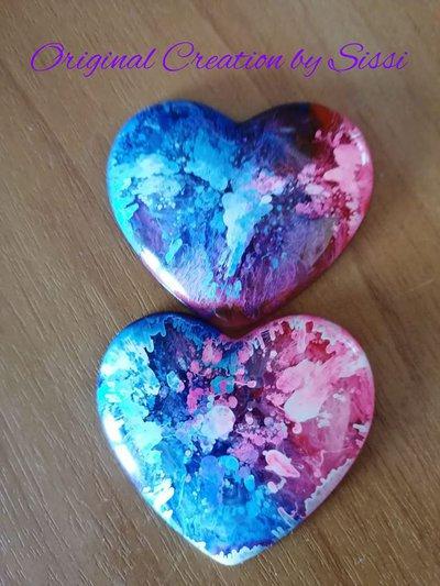 Calamite in resina a forma di cuore fatte a mano