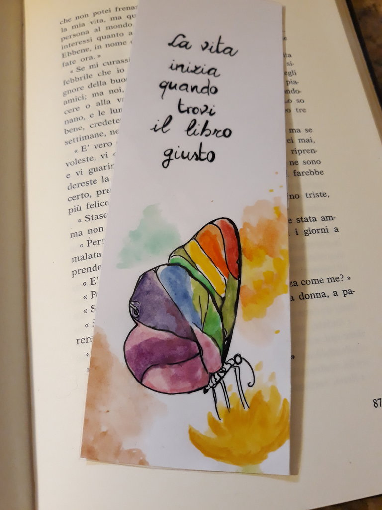 Segnalibro dipinto con frase