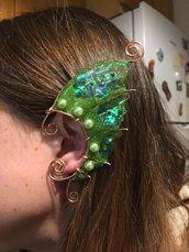 Earcuf wire e resina stile marmeid /elfo