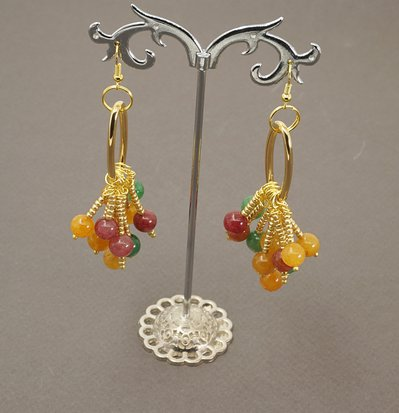 orecchini pendenti pietre dure quarzo multicolor
