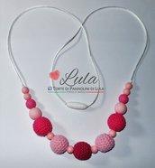 Collana allattamento rosa fucsia dentizione massaggiagengive bijoux neomamma idea regalo nascita battesimo baby shower