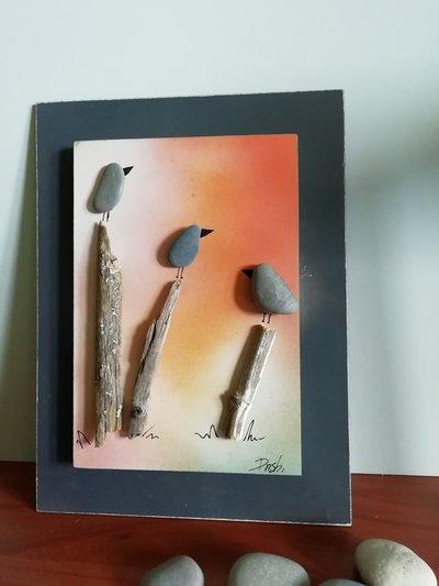 uccellini al tramonto, sassi e ramoscelli ,ideale come regalo