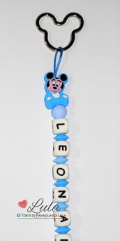 Portachiavi  in silicone azzurro/ celeste anello topolino con Topolino personalizzabile con nome o breve dedica