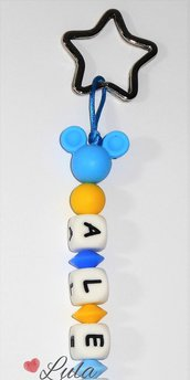 Portachiavi  in silicone Topolino anello stella personalizzabile con nome o breve dedica