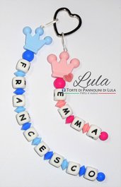 Portachiavi personalizzato 2 NOMI in silicone  anello cuore con nome idea regalo mamma papà nonna nonno