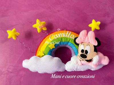 Fiocco nascita Minnie su arcobaleno Personalizzato