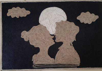 "Quadro 3D ""Amore sotto la Luna"""