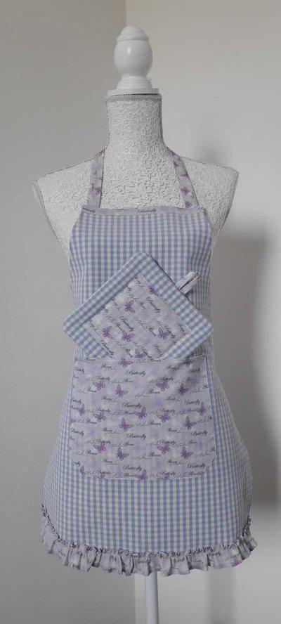 Grembiule da cucina donna a quadretti lilla con tasca con farfalle e omaggio presina