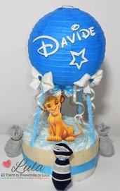 Torta di Pannolini Pampers MONGOLFIERA Simba Re Leone idea regalo nascita battesimo baby shower