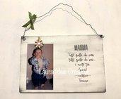 Portafoto personalizzato in legno per la festa della mamma  stile shabbychic