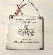 Targa in legno stile cartoon - festa della mamma - idea regalo personalizzata