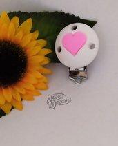 Clip in silicone alimentare certificato -Tonda bianca con cuore rosa-