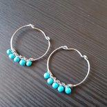 Orecchini wire a cerchio con perline di turchesite