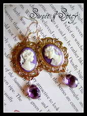 PURPLE CAMMEO EARRINGS-ORECCHINI VINTAGE/VITTORIANI CON CAMMEO DAMA