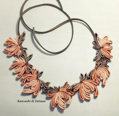 Collana kanzashi con fiori 7.0