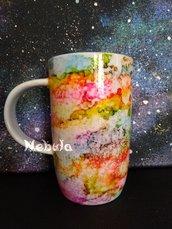 Tazza mug arcobaleno in ceramica dipinta a mano OOAK