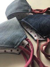 Mascherina di jeans e stoffa cotone adulti bambini