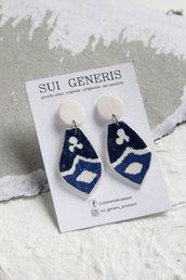 Azulejo mod.3 orecchini pendenti in fimo effetto ceramica motivo bianco e blu geometrico _102_