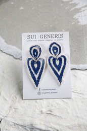 Azulejo mod. 5 orecchini pendenti in fimo effetto ceramica portoghese blu e bianco _104_
