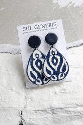 Azulejo mod.4 orecchini pendenti in fimo effetto ceramica motivo bianco e blu geometrico _103_