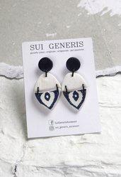 Azulejo mod.1 orecchini pendenti in fimo effetto ceramica portoghese blu e bianco _100_
