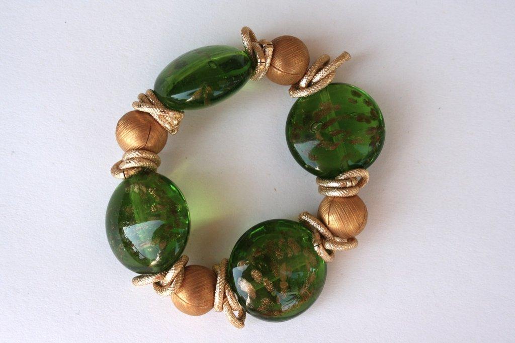 Braccialetto perle verdi e dorate
