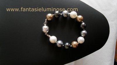 bracciale perle grigie