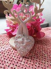 Cuore con colombe - coppia  in gesso ceramico profumato per il fai da te