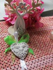 Segnaposto cuore con colombe in gesso ceramico profumato