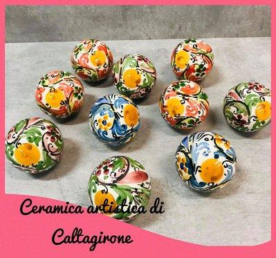 palline di natale  in ceramica di Caltagirone