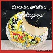 vaso mezzaluna in ceramica di caltagirone