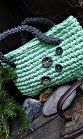 Borsa fettuccia cotone lycra crochet handmade Italy Alghe marine