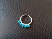 Anello wire con perline di turchesite