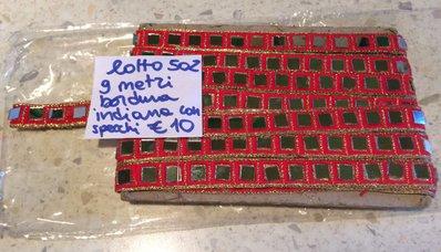 9 METRI BORDURA INDIANA ROSSO CON SPECCHIETTI - LOTTO 502