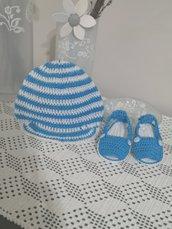 Completo cappellino e scarpette cotone 100%