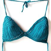 Reggiseno bikini triangolino in cotone lavorato all'uncinetto