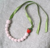 Crochet Beads Necklace Amigurumi Strawberry