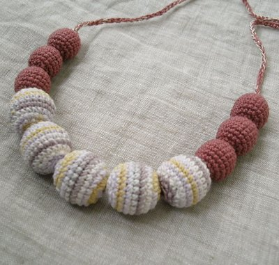 Crochet Beads Necklace in Mauve, Light Pink, Mustard Yellow and White Colorway