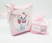 Bomboniera scatolina personalizzata minou marie aristogatti battesimo compleanno nascita completa di tutto