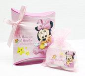 Bomboniera scatolina personalizzata minnie battesimo nascita compleanno personalizzato completa di tutto