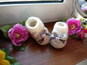 Scarpine ad uncinetto, in lana, forma topolino, fatte a mano