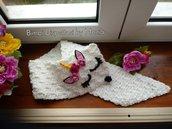 Sciarpa o scaldacollo  ad uncinetto, forma ad Unicorno, fatto a mano