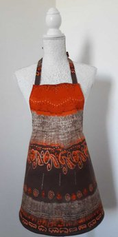 Grembiule da cucina donna fantasia arancio marrone