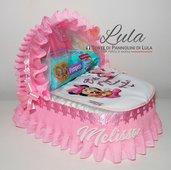 Torta di Pannolini Minnie culla carrozzina Pampers Baby Dry + bavaglino personalizzato