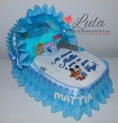 Torta di Pannolini Topolino culla carrozzina Pampers Baby Dry + bavaglino personalizzato