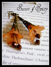 "FLOWERS COLLECTION-""BRONZE NUTS"" LUCITE TRUMPET FLOWER EARRINGS-ORECCHINI VINTAGE CON FIORE IN LUCITE"