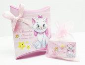 Bomboniera scatolina personalizzata minou marie aristogatti battesimo nascita compleanno personalizzato completa di tutto