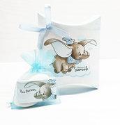 Bomboniera scatolina personalizzata dumbo elefantino battesimo compleanno nascita personalizzata completa di tutto