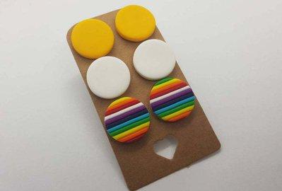 3 paia orecchini borchiette bottoncini bottoni arcobaleno colorati fimo rotondo pasta polimerica